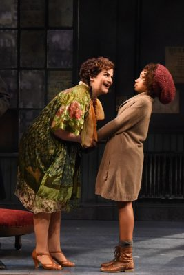 "It's all about hope: Rachel Zampelli (Miss Hannigan) and Noelle Robinson (Annie) star in Olney Theatre Center's ""Annie."""