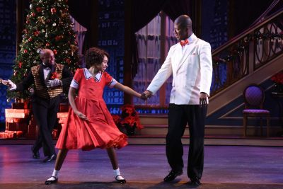 "Holiday cheer: Kevin McAllister (Oliver Warbucks) and Noelle Robinson (Annie) in ""Annie."""