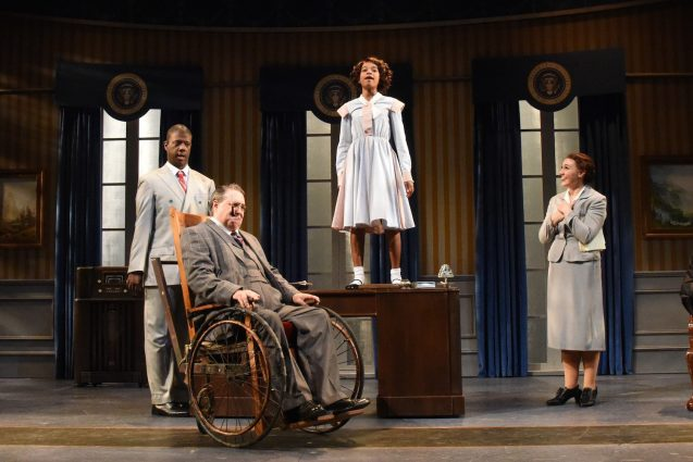 New Deal: Kevin McAllister (Oliver Warbucks), Rob McQuay (FDR), Noelle Robinson (Annie), and Emily Madden (Ensemble).