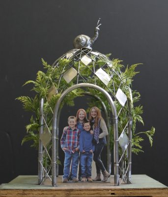 This is a small-scale model of the Children's Gatehouse, designed by Jay Hall Carpenter. The completed 9-foot-tall, stainless steel gatehouse will be installed at Constitution Gardens in the City of Gaithersburg.