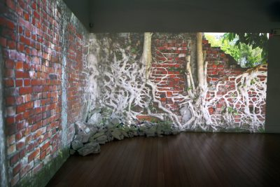 """""""Ingrown"""" is a two-channel video and sculptural installation featuring video footage acquired while Rachel Schmidt was in residence in Taipei."""