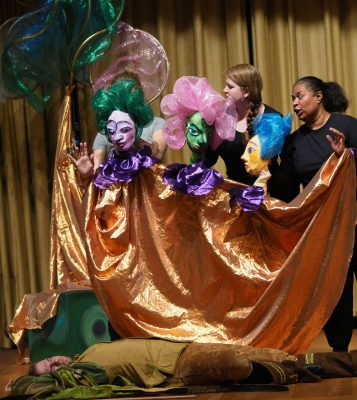 """Three Ladies (Bunraku puppets) and Tamino (Andrew Ellis), the prince, in Bel Cantanti's production of """"The Magic Flute."""""""