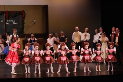 In Hope Garden's ballet, gingerbread cookies dance at Mr. Fezziwig's party during a scene the Spirit of Christmas Past shows Scrooge.