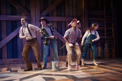 The cast sings barnyard songs. From left, Matthew Schleigh, Jonathan Feuer, Timotheus German, Javier del Pilar and Moira Todd.