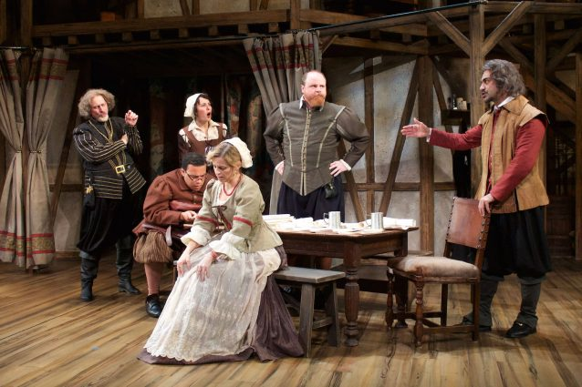 Mitchell Hébert (Ben Jonson), Christopher Michael Richardson (Ralph Crane), Katie Kleiger (Alice Heminges), Kimberly Gilbert (Elizabeth Condell), Todd Scofield (John Heminges) and Maboud Embrahimzadeh (Henry Condell) find a way to keep their friend William Shakespeare's oeuvre intact.