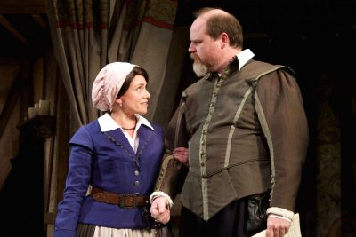 "Merry wives, merry lives: Marni Penning (Rebecca Heminges) and Todd Scofield (John Heminges) in ""The Book of Will."""