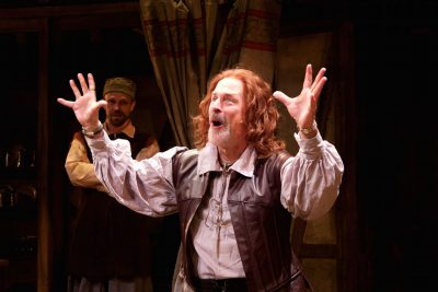 "Mitchell Hébert (Richard Burbage) channels Shakespeare in Round House Theatre's production of ""The Book of Will."""