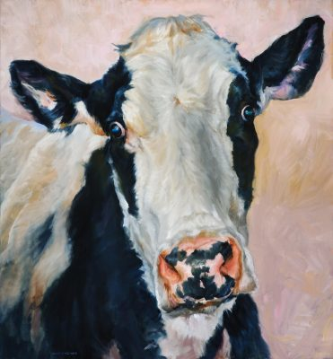 "Cowabunga! Diane Weiner's ""Bodies of Work"" include bovine portraits like ""Pink Nose."""