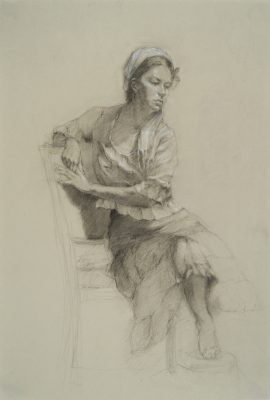 "Diane Weiner sketches humans, too, like this milkmaid-esque lady in ""Reverie."""