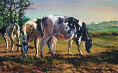 "Can cows be traditional? The poignant creatures in ""Grazing"" certainly are."
