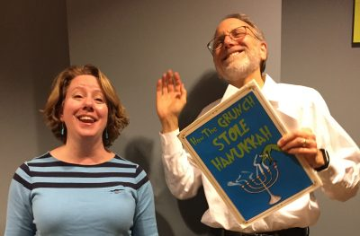 "Deborah Sternberg will sing while Richard Goemann reads the text of ""How the Grunch Stole Hanukkah."""