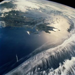 """A partial view of Earth's Mediterranean Sea, taken from space shuttle orbiter Atlantis during STS-84 mission, will be shown during the National Philharmonic's performance of Claude Debussy's """"La Mer."""""""