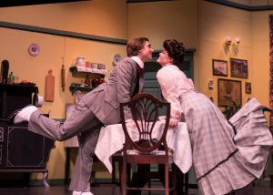 "Zach Pajak (Versati) and Alexandra Guyker (Louise) in Rockville Little Theatre's ""The Underpants."""