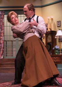 "Jill Goodrich (Gertrude) and Phil Hosford (Theo) in Rockville Little Theatre's ""The Underpants."""