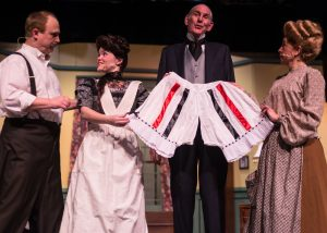 "Phil Hosford, Alexandra Guyker, Stuart Rick and Jill Goodrich in Rockville Little Theatre's ""The Underpants."""