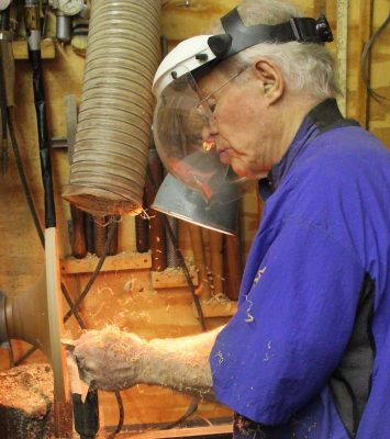 Man at work: Woodturner Phil Brown plies his craft.