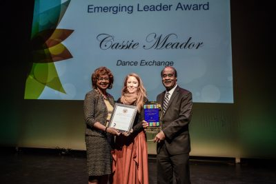 Cassie Meador received the 2017 County Executive's Emerging Leader Award for Excellence in the Arts and Humanities.