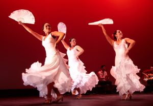 "Laura Peralta, Leilah Broukhim and Leslie Roybal perform ""Bailes de Ida y Vuelta."""