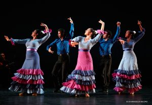 """From left, Leilah Broukhim, Antonio Hidalgo, Leslie Roybal, Isaac Tovar and Laura Peralta in """"A Solas."""" Hidalgo and Tovar will dance in the Montgomery College show."""