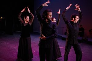 "Flamenco Vivo's Eliza Gonzalez, Antonio Hidalgo, Alice Blumenfeld and Isaac Tovar in ""Martinete-Seguiriya."" All except Blumenfeld will perform the piece at the Cultural Arts Center."