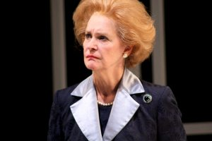 "Not for turning: Kate Fahy plays the Iron Lady in ""Handbagged"" at Round House Theatre."