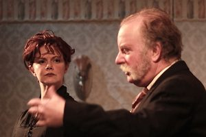 "Rebecca Ellis (Maggie Hobson) and Andy White (Hobson, Maggie's father) in Quotidian Theatre Company's production of ""Hobson's Choice."""