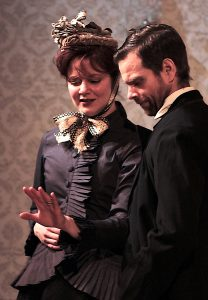 "Rebecca Ellis (Maggie Hobson) and Matt Baughman (Will Mossop) are a couple in in Quotidian Theatre Company's ""Hobson's Choice."""