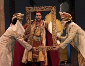 The corrupt Wazir prepares for his coronation. From left, are Anjna Swaminathan, Jimmy Mavrikes and Jordan Moral.