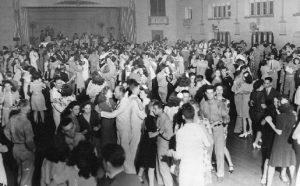 A vintage photograph from a dance in Glen Echo Park's Spanish Ballroom.
