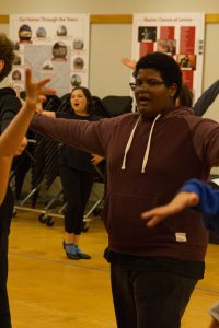 """Judah Donnon (front) and Ziva Greenblum during an """"Anything Goes"""" rehearsal."""