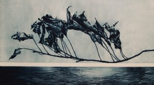 "Jenny Freestone's ""Ship of Fools,"" drypoint, 22 by 32 inches"