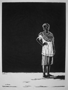 "Margaret Adams Parker's ""Young Girl, Angola,"" woodcut, 32 by 26 inches"
