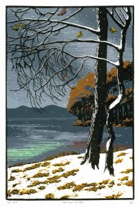 "Max-Karl Winkler's ""First Snow, Gull Lake,"" 8-Color Reduction Woodcut, 26 by 18 inches"