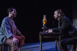 Jon Hudson Odom (Nat Turner) talks with Joseph Carlson (Thomas Gray).