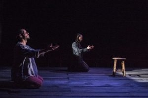 Praying together: Jon Hudson Odom (Nat Turner) and Joseph Carlson (Thomas Gray).