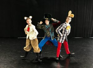 Sophie Heberlein as Dormouse, Annebeth Heller as Mad Hatter, Pardiss Kaviani as March Hare