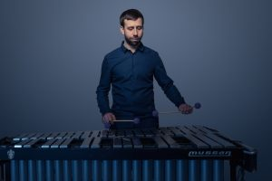 The xylophone is among Chris Barrick's instruments.