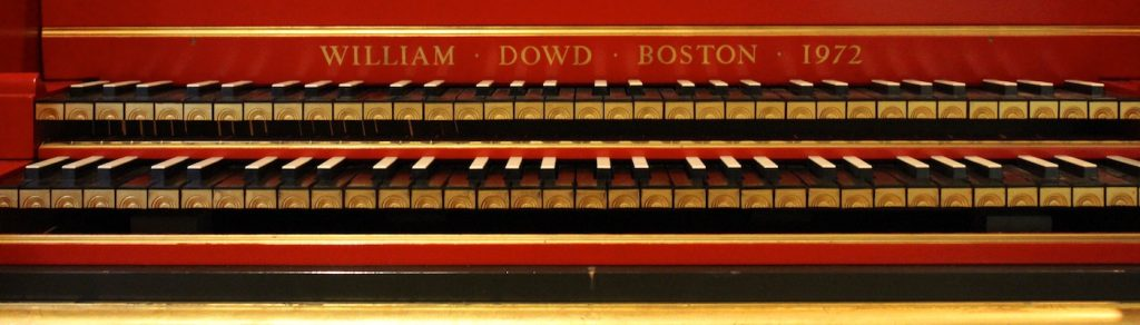 The keyboard of Carolyn Winter's Down harpsichord.