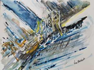 Vian Borchert's abstract watercolor is on view through March 25 at the Popcorn Gallery in Glen Echo Park.