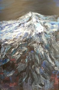 "Vian Borchert's ""Snow Mountain"" at Framer's Choice Gallery."
