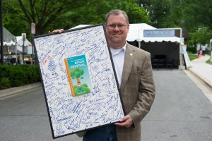 Gaithersburg Mayor Jud Ashman at last year's Gaithersburg Book Festival.