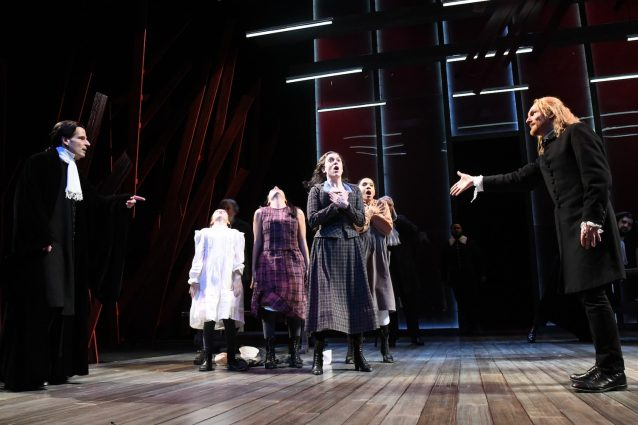 "Spirits in the night: Paul Morella (Deputy Governor Danforth), Mia Rilette (Betty Parris), Guadalupe Campos (Mercy Lewis), Dani Stoller (Abigail Williams), Yakima Rich (Susanna Walcott), and Scott Parkinson (Reverend Hale) in Olney Theatre Center's production of ""The Crucible."""