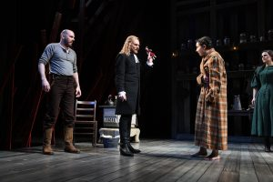 "Chris Genebach (John Proctor), Scott Parkinson (Reverend Hale), Miranda Rizzolo (Mary Warren) and Rachel Zampelli (Elizabeth Proctor) in Olney Theatre Center's production of ""The Crucible."""