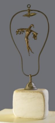 """Flying Above,"" bronze on marble base"