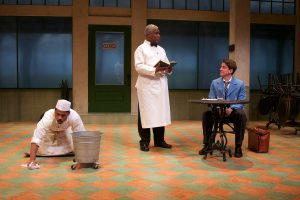 """Ro Boddie (Willie), Craig Wallace (Sam) and Nick Fruit (Hally) in Round House Theatre's """"'Master Harold'…and the Boys."""""""