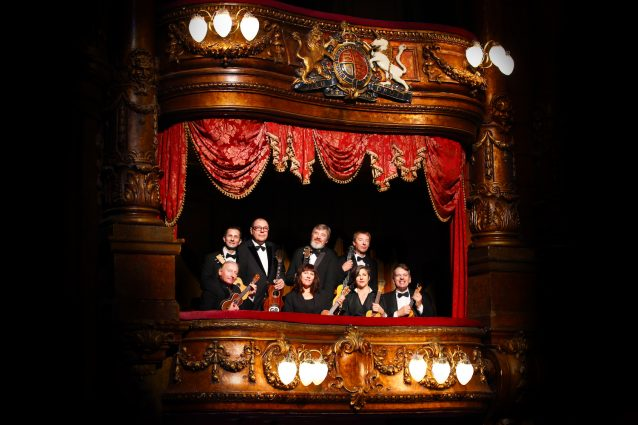 The Ukulele Orchestra of Great Britain visited the Royal Box at the London Palladium before a show.