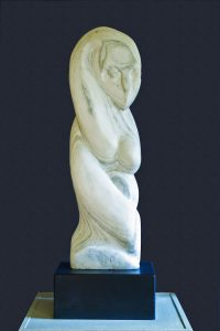 """Snake Lady,"" white marble with dark inclusion, is among Karen Montgomery's favorite of her own works."
