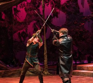 Robin (Christopher Dinolfo) fights the Sheriff of Nottingham (Michael Glenn).