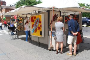 Beverly Hayden's tent at the Bethesda Fine Arts Festival.