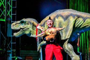 New Age clown-ringmaster Dino and Baby Dino, his pet baby dinosaur.